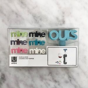 NWT Umbra Ours & Mine Wine Glass Charms Stopper